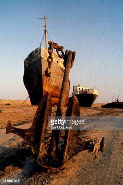 Ussr Aral Sea Area Rusting grounded ships on the former sea bottom