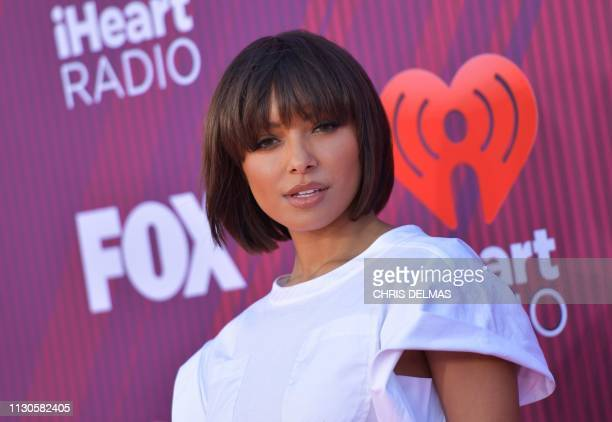 USSwiss actress Kat Graham arrives for the 2019 iHeart Radio Music Awards at the Microsoft theatre on March 14 2019 in Los Angeles