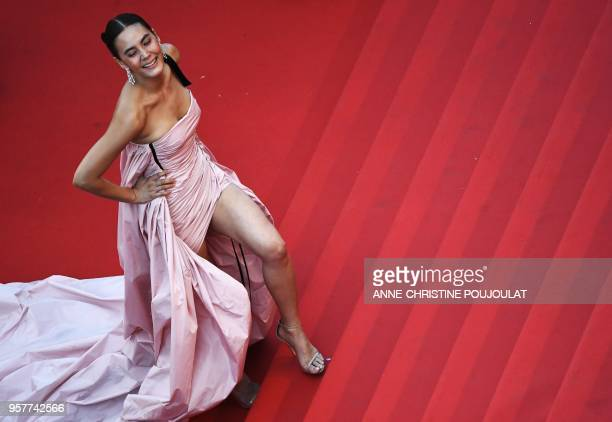 USThai actress Janie Tienphosuwan poses as she arrives on May 12 2018 for the screening of the film Girls of the Sun at the 71st edition of the...