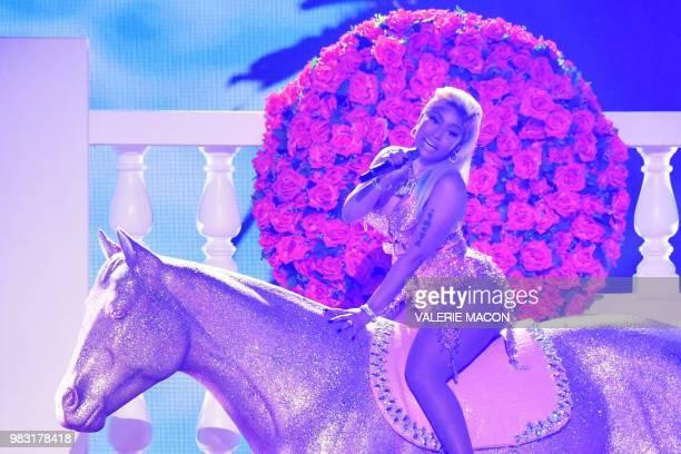 USTrinidadian rapper Nicki Minaj performs onstage during the BET Awards at Microsoft Theatre in Los Angeles California on June 24 2018