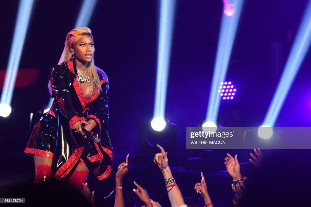 US-Trinidadian rapper Nicki Minaj performs onstage during the BET Awards at Microsoft Theatre in Los Angeles, California, on June 24, 2018.