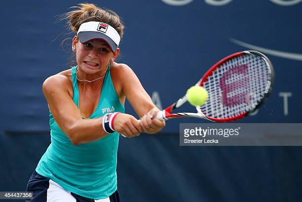 Usue Maitane Arconada of the United States against Gabriella Taylor of Great Britain on Day Seven of the 2014 US Open at the USTA Billie Jean King...