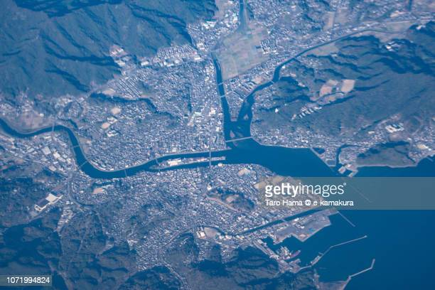 Usuki city and Seto Inland Sea in Oita prefecture in Japan daytime aerial view from airplane