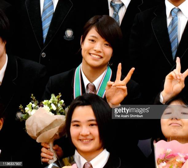 Uta Abe attends the graduation ceremony of the Shukugawa Gakuin High School on March 2 2019 in Kobe Hyogo Japan