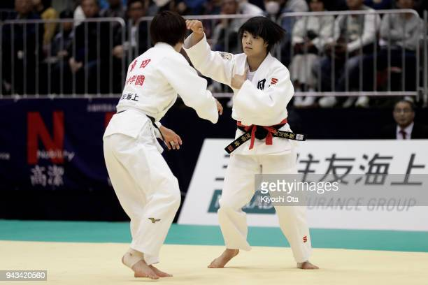 Uta Abe competes against Natsumi Tsunoda in the Women's 52kg semifinal match on day two of the All Japan Judo Championships by Weight Category at...