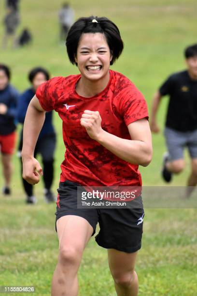 Uta Abe dashes during a training session of the Judo Japan Women's national team camp on June 13 2019 in Asahikawa Hokkaido Japan