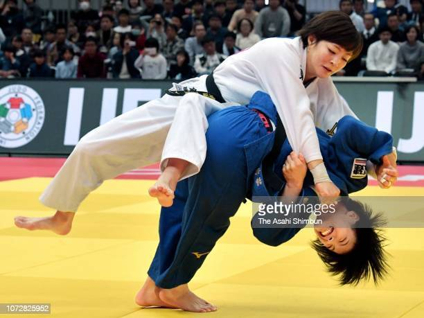 Uta Abe of Japan and Natsumi Tsunoda of Japan compete in the Women's 52kg final on day one of the Grand Slam Osaka at Maruzen Intec Arena Osaka on...
