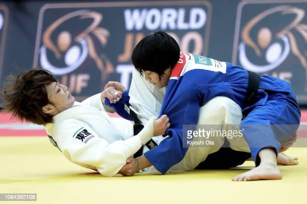 Uta Abe of Japan competes against Natsumi Tsunoda of Japan in the Women's 52kg final match on day one of the Grand Slam Osaka at Maruzen Intec Arena...