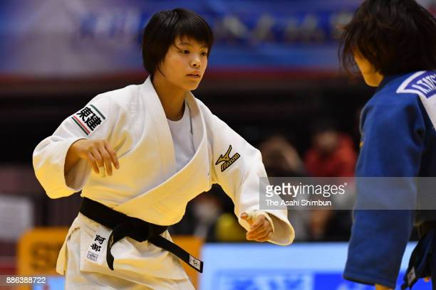 Uta Abe of Japan competes against Rina Tatsukawa of Japan in the Women's 52kg final during day one of the Judo Grand Slam Tokyo at Tokyo Metropolitan...