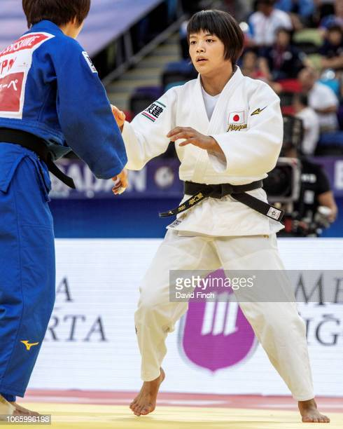 Uta Abe of Japan defeated Ai Shishime also of Japan by an ippon in extratime to win the u52kg gold medal during day two of the 2018 World Judo...