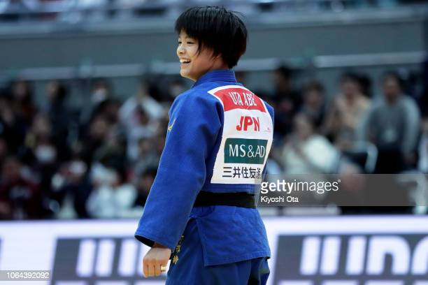 Uta Abe of Japan smiles after winning the Women's 52kg final match against Natsumi Tsunoda of Japan on day one of the Grand Slam Osaka at Maruzen...