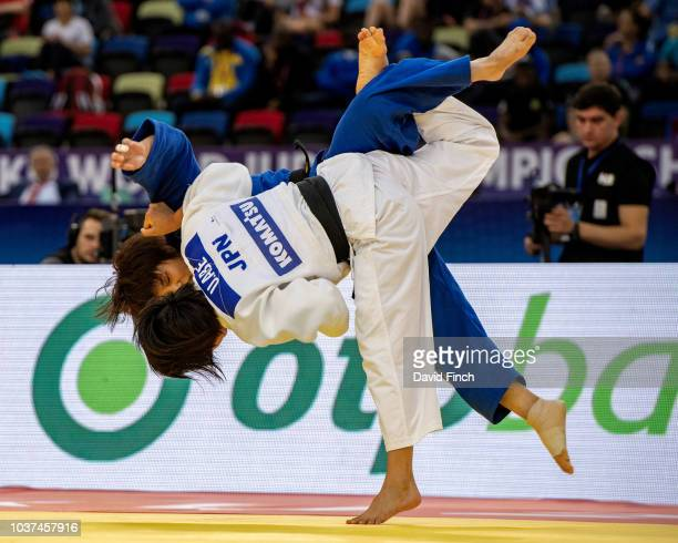 Uta Abe of Japan throws fellow country woman Ai Shishime for an ippon with an inner thigh throw in extra time to win her first senior World gold...