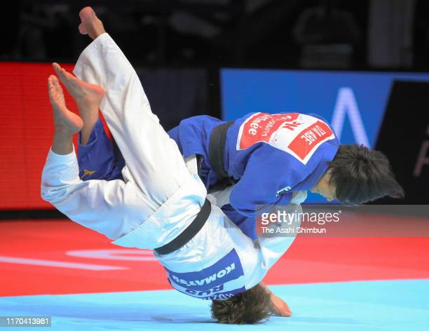 Uta Abe of Japan throws Natalia Kuziutina of Russia to win by Ippon in the Women's 52kg final on day two of the World Judo Championships at the...