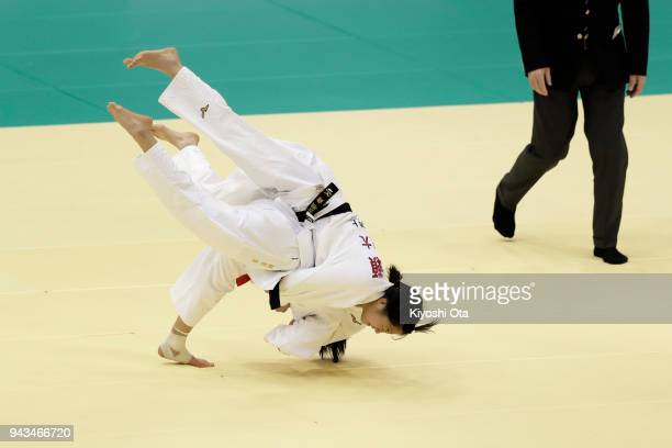 Uta Abe throws Mai Kose in the Women's 52kg match on day two of the All Japan Judo Championships by Weight Category at Fukuoka Convention Center on...