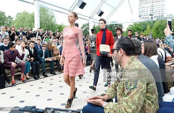 Uta Uchida Yayako Uchida Masahiro Motoki Josh Whitehouse Oscar Tuttiett and Clara Paget sit in the front row at Burberry Menswear Spring/Summer 2016...