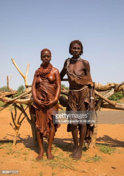 Uta woman from the Hamer tribe with her motherinlaw'n Omo valley Turmi Ethiopia on June 12 2017 in Turmi Ethiopia