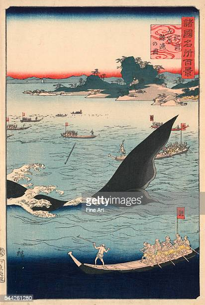 Utagawa Hiroshige 18261869 Hizen goto kujiraryo no zu Date Created/Published 1859 Color woodcut print 354 x 241 cm Whalers armed with harpoons...