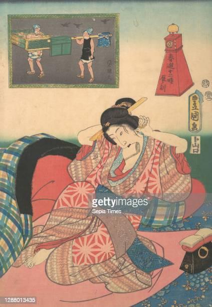 Utagawa Kunisada, Twelve Hours of Spring Pleasures: Hour of the Dragon, Japan, Edo period , Utagawa Kunisada , 19th century, Japan, Polychrome...
