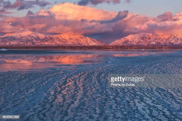 USA Utah Antelope Island State Park Great Salt Lake in winter