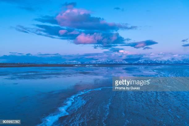 USA Utah Antelope Island State Park Wasatch mountains and Freat Salt Lake in winter