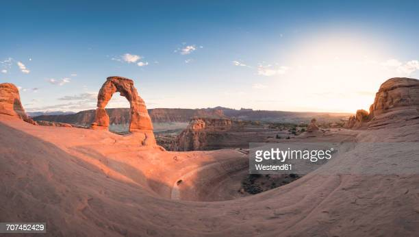 usa, utah, arches national park, delicate arch at sunset - delicate arch stock pictures, royalty-free photos & images