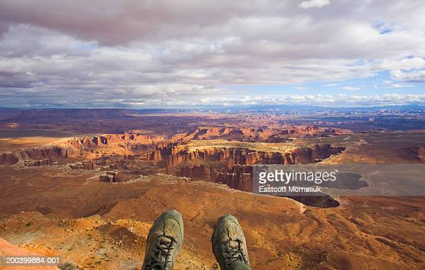 USA, Utah, Canyonlands National Park, hiker above canyon, low section