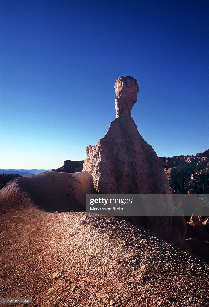USA, Utah, Canyonlands National Park, rock pinnacle, sunrise : Stock Photo