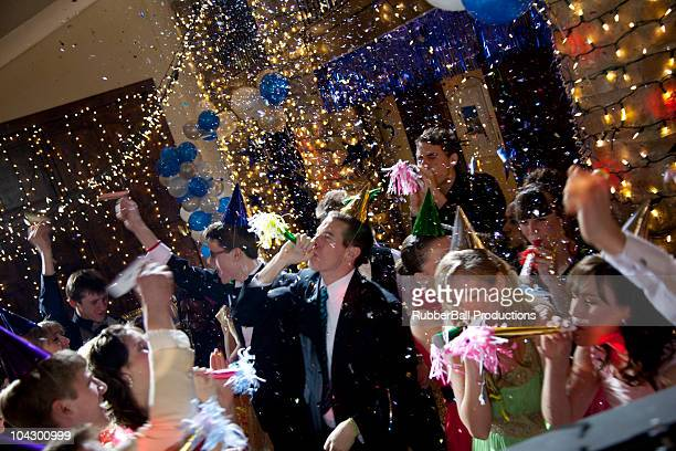 usa, utah, cedar hills, group of young people celebrating new years eve - 14 15 years stock pictures, royalty-free photos & images