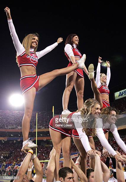 Utah cheerleaders form a pyramid The Utes won the Fiesta Bowl 35 7 against the Pittsburgh Panthers in Phoenix AZ on January 1 2005