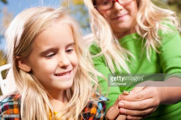 USA, Utah, close up of sisters (6-7, 8-9 ) holding frog