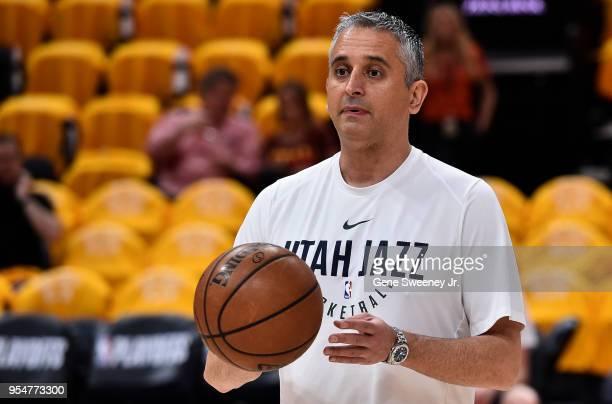 Utah Jazz assistant coach Igor Kokoskov on court during warm ups prior to Game Three of Round Two of the 2018 NBA Playoffs against the Houston...