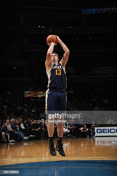 Utah Jazz center Mehmet Okur goes for a jump shot during the game the game against the Washington Wizards at the Verizon Center on January 17 2011 in...