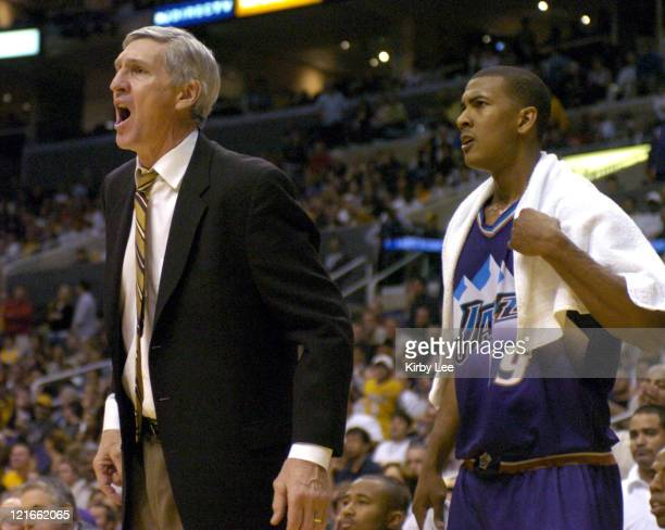 Utah Jazz coach Jerry Sloan and Raja Bell on the sideline during the game between the Utah Jazz and the Los Angeles Lakers at the Staples Center in...