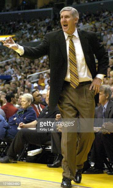 Utah Jazz coach Jerry Sloan on the sideline during the game between the Utah Jazz and the Los Angeles Lakers at the Staples Center in Los Angeles,...