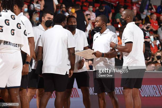 Utah Jazz coaches huddle up during the game against the Miami Heat during the 2021 Las Vegas Summer League on August 13, 2021 at the Cox Pavilion in...