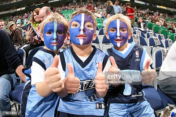 Utah Jazz fans pose prior to the game against the Memphis Grizzlies at EnergySolutions Arena November 10 2007 in Salt Lake City Utah NOTE TO USER...