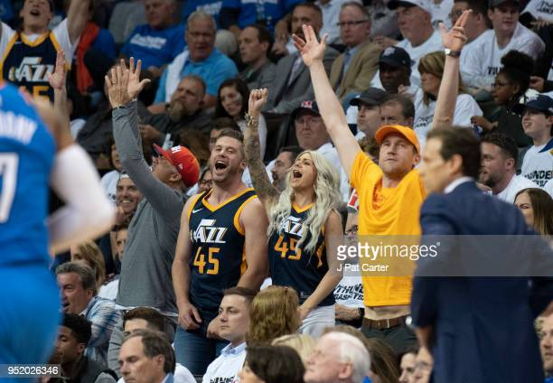 Utah Jazz fans react during game 5 of the Western Conference playoffs at the Chesapeake Energy Arena on April 25 2018 in Oklahoma City Oklahoma NOTE...
