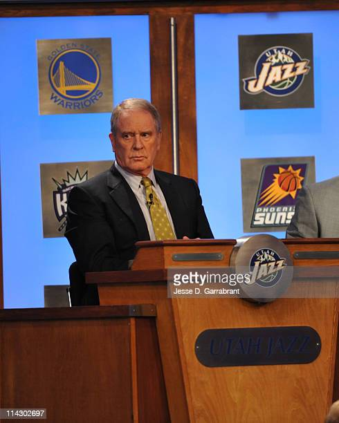 Utah Jazz general manager Kevin O'Connor looks on during the 2011 NBA Draft Lottery at the Studios at NBA Entertainment on May 17 2011 in Secaucus...