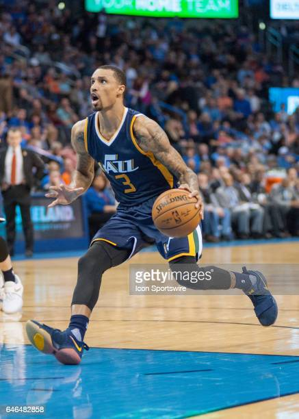 Utah Jazz Guard George Hill driving the lane versus Oklahoma City Thunder on February 28 at the Chesapeake Energy Arena Oklahoma City OK