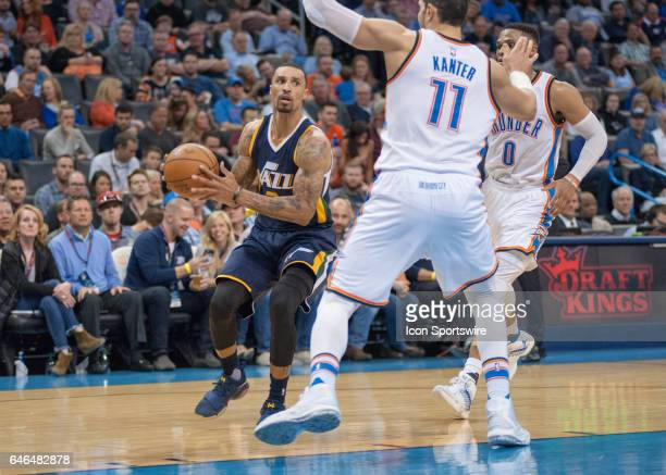 Utah Jazz Guard George Hill making a play versus Oklahoma City Thunder on February 28 at the Chesapeake Energy Arena Oklahoma City OK