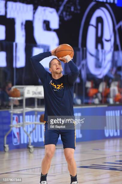 Utah Jazz guard Joe Ingles shoots the ball warms up before scrimmage against the Brooklyn Nets on July 27, 2020 at HP Field House at ESPN Wide World...