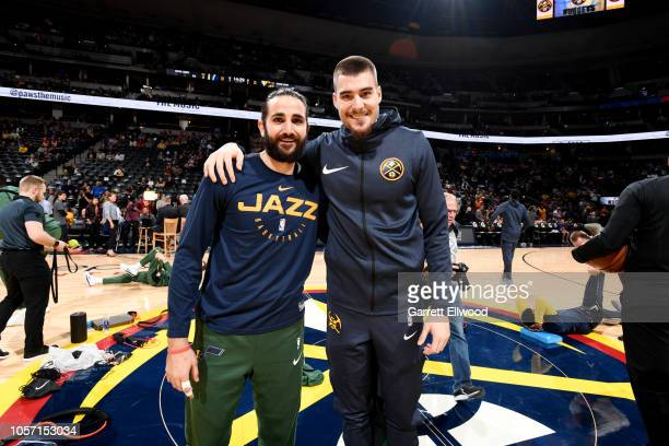 Utah Jazz guard Ricky Rubio and Denver Nuggets forward Juan Hernangomez pose for a photo prior to the game between the Utah Jazz and the Denver...