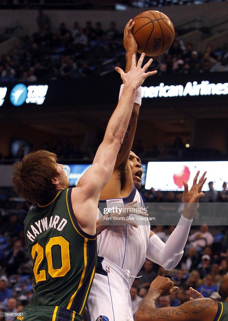 Utah Jazz shooting guard Gordon Hayward tries to block a