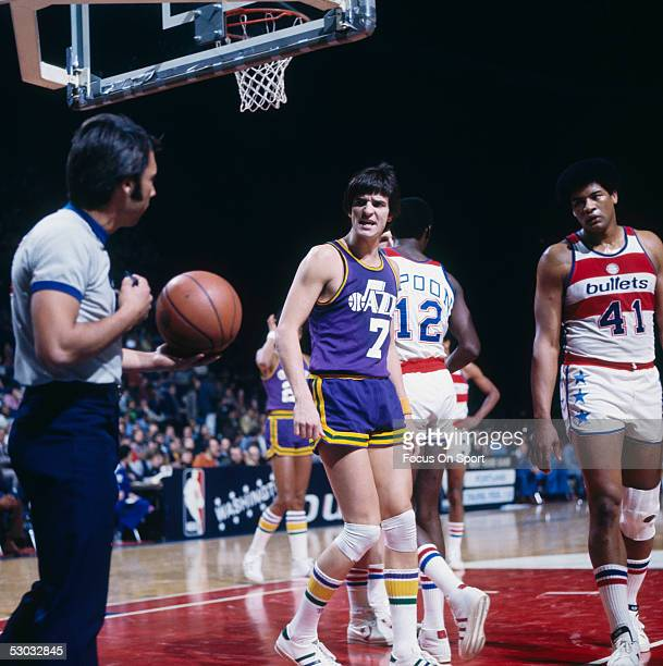 Utah Jazz's guard Pete Maravich gives the referee a discouraging look during a game against the Washington Bullets at Capital Center circa the 1970's...