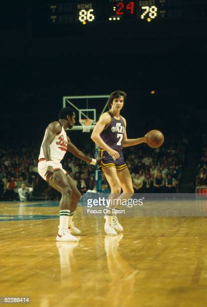 Utah Jazz's Pete Maravich dribbles the ball down court against the Milwaukee Bucks dkuring a game circa 1970's at Mecca Arena in Milwaukee, Wisconsin.