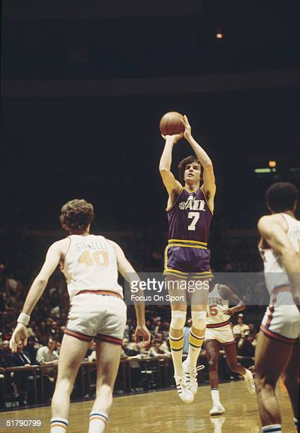 Utah Jazz's Pete Maravich takes a jump shot against the New York Knicks at Madison Square Garden in 1979 in New York New York
