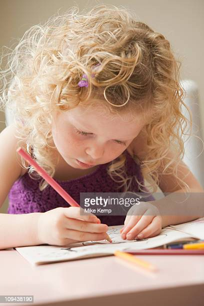 usa, utah, lehi, girl (2-3) drawing - colouring book stock photos and pictures