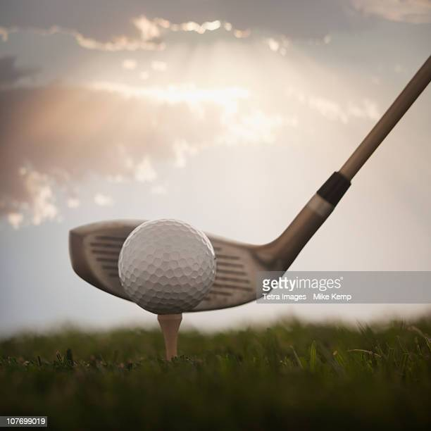 USA, Utah, Lehi, Golf ball on tee