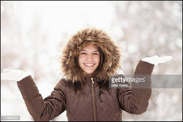 usa, utah, lehi, portrait of young woman wearing winter coat outdoors - female hairy arms stock photos and pictures