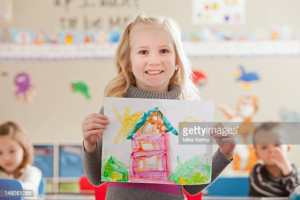 usa, utah, orem, children (4-5, 6-7) during art classes - orem utah stock pictures, royalty-free photos & images
